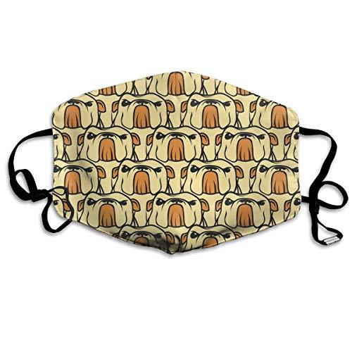 Wrution English Bulldog Pattern Seamless Vector Personalized Cotton Face Mouth Atmung Maske Bequem Wiederverwendbar für Männer und Frauen