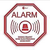 6er Set Alarm-Aufkleber I Hin_218 I 5 x 5 cm I Achtung Objekt Wird elektronisch gesichert I für Fenster-Scheibe, Tür I außenklebend Wetterfest