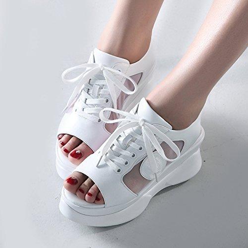 Xing Lin Sandales Pour Dames La Section DÉté Sandales Ulzzang Vent Marée Épais Bas Dentelle Occasionnels Sandales white