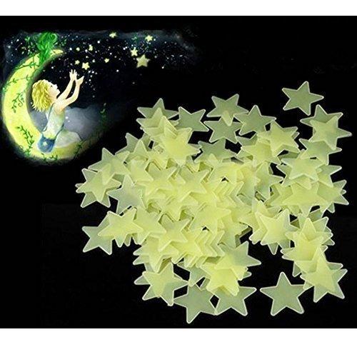 RotSale® Leuchtaufkleber Leuchtend Gelbgrün Wandsticker Leuchtende Sticker Sterne im Dunkeln