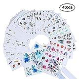 40pcs Adesivi Per Unghie Fiori, Nail Art Sticker Petalo Inchiostro Ciondolo Farfalla Forma Gatto Nail Art Design Per Donne Ragazze Bambini