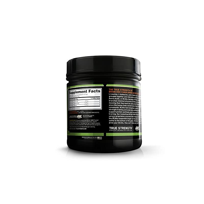 Optimum Nutrition 5000 Powder Branched Chain Amino Acids with L-Leucine, L-Isoleucine and L-Valine, Unflavoured Muscle Building and Recovery Supplements, 60 Servings, 345 g