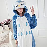 SED Pijama Adulto de Las Mujeres Cosplay Animal Costume Invierno Espesamiento Ocio,Azul,S