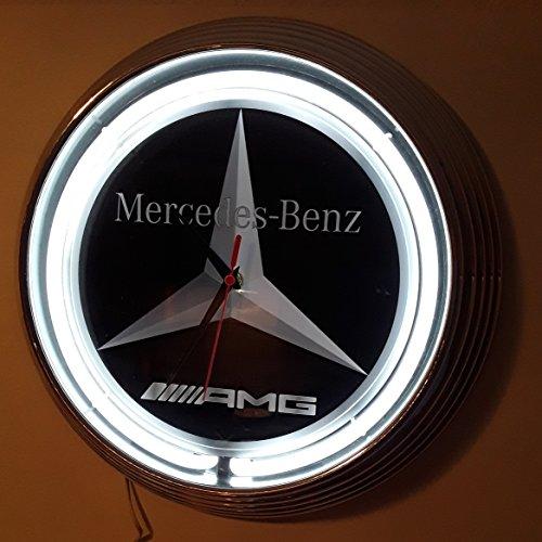 NEONUHR - DURCHMESSER = Ø 38 cm- MERCEDES-BENZ AMG WANDUHR BELEUCHTET MIT WEISSEN NEON RING