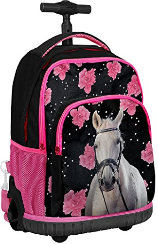 Paso flowers and white horse cavallo zaino con ruote trolley ragazza scuola media, elementare