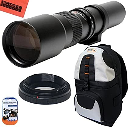 Big Mike es de alta-de 500 mm f/8 Manual Teleobjetivo y Deluxe SLR mochila para Canon Digital EOS Rebel T1i, T2i, T3, T3i, T4i, T5, T5i, T6i, T6s, SL1, EOS60D, EOS70D, 50D, 40D, 30D, EOS 5D, EOS1D, EOS5D III, EOS 5Ds, EOS 6D, EOS 7D, EOS 7D Mark II cámaras réflex digitales