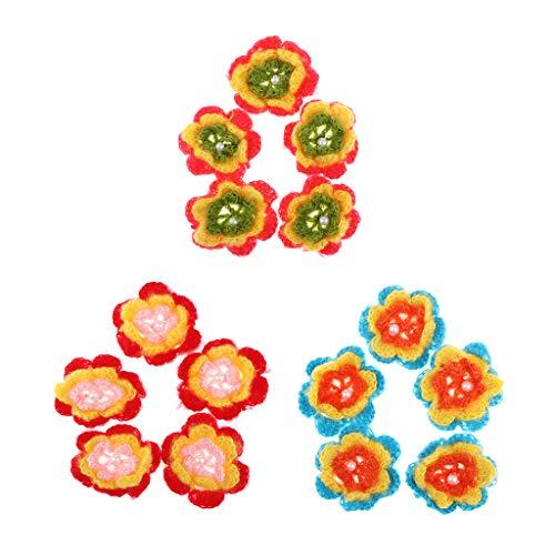 Hand Knit Yarn - 5pcs Yarn Crochet Flowers Handmade Appliques Embellishments Home Wedding Decoration - Thread Knit Thread Ribbon Flower Crochet 3d Lace Hand Yarn Hemp Wool Wool Yarn Flower -