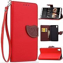 Naturaleza hojas de cierre magnetico Style PU Leather Wallet [stand caracteristica] Flip folio piel protectora caso con correa del Acollador llevar funda para HTC Desire 626 816 ( Color : Red , Size : HTC Desire 626 )