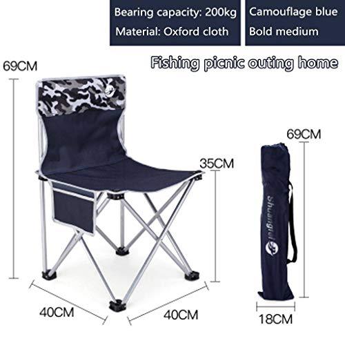 WRZHRXXH Im Freien Falten Camping Stuhl Ultraleicht Tragbar Freizeit Falten Strand Stuhl Art Hocker Fischen Hocker Camping Barbecue Picknick-Camouflage Blue medium