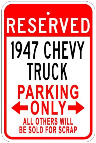 The Lizton Sign Shop Parkschild 1947 47 Chevy Truck Aluminium, Aluminium, weiß, 12 x 18 Inches -