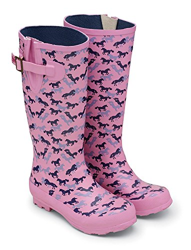 Damen Pferd Print Design Wasserdicht Gummi Gummistiefel Größe 3-9 Rosa rose UK 8 / EU 42