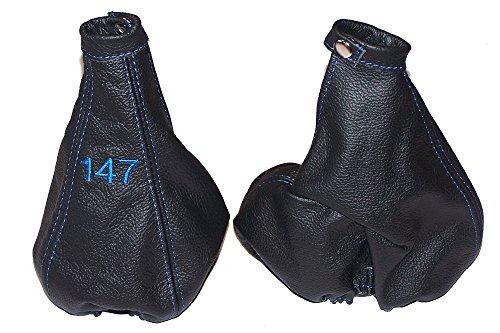 Per Alfa Romeo 1472000-04Gear & cuffia leva freno a mano in pelle italiana di nero blu con logo ricamato