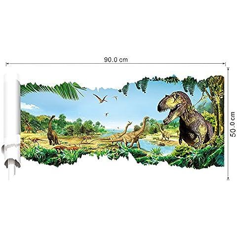 RC-Angel 3d dinosaurios arte de pared adhesivo adhesivos de vinilo extraíble habitación infantil