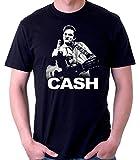 35mm - Camiseta Hombre - Johnny Cash - Fuck You - T-Shirt, Negra, M