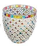 Casa Windlicht Windlichthalter Teelichthalter Glas bunt •Verschiedene Ausführungen und Größen zur Auswahl Gartendekoration Gartendeko (Windlicht Bunte Punkte groß 13 cm)