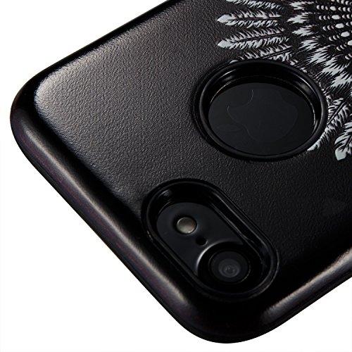 iPhone 7 Hülle Schwarz Muster,Silikon Bumper für iPhone 7,Ekakashop Ultra Thin Modisch Luxuriös 2 in 1 Fenster Mädchen Design Dual Layer TPU Silikon Defender Shockproof Protective Schutzhülle Fallschu Feder-Schädel