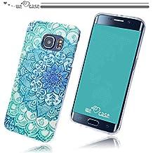 WeLoveCase Casco para Samsung Galaxy S6 Edge Silicona TPU Suave Funda Cascara Protección Tapa Anti Polvo Absorción de Choque Gel Ligera Resistente Fina con Diseño Creativo Original de Moda Nuevamente (Samsung S6 Edge, Dibujo Flor Azul Blanco)