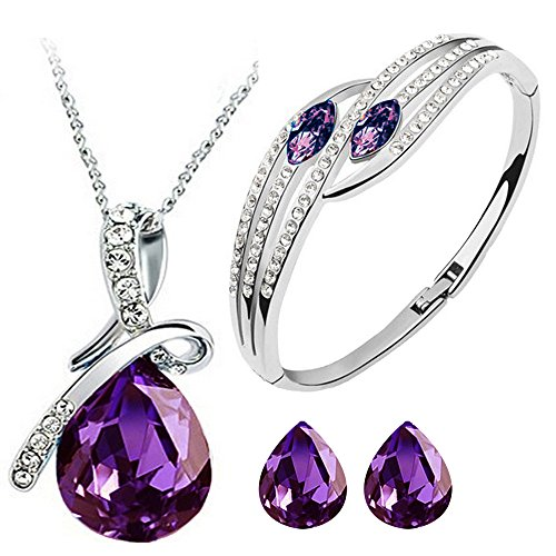 Cyan Purple Crystal & Brass Bow Style Crystal Jewelry Set Combo Elegant Bracelet For Girls  available at amazon for Rs.499