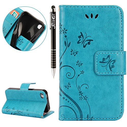 iPhone 4S Hülle,iPhone 4 Hülle,SainCat Apple iPhone 4/4S Hülle Ledertasche Brieftasche im BookStyle PU Leder Wallet Case Folio Schutzhülle [Schmetterlings-Rebe Relief Muster] Hülle Bumper Handytasche  Schmetterling Blumen-Blau