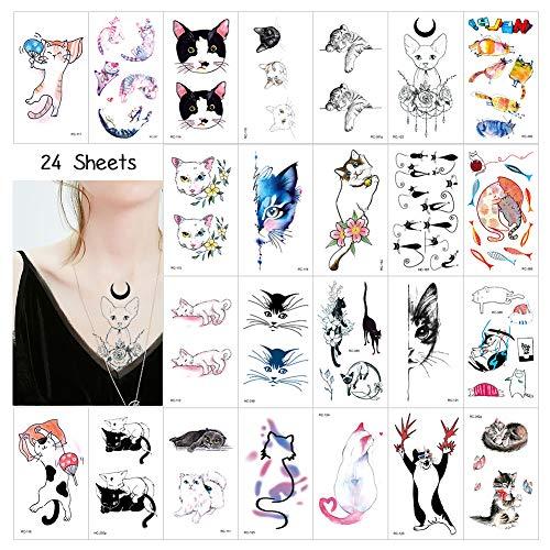 50x Cat Temporäre Tattoos für Kinder und Erwachsene, Klebe Tattoo Wasserdichter Festival Körperkunst Aufkleber Tätowieren
