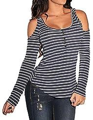 Moda Mujer Con Hombros al Descubiertos Escote Cuello Bardot Rayas Henley T-Shirt Camiseta Tee Básica Top Azul