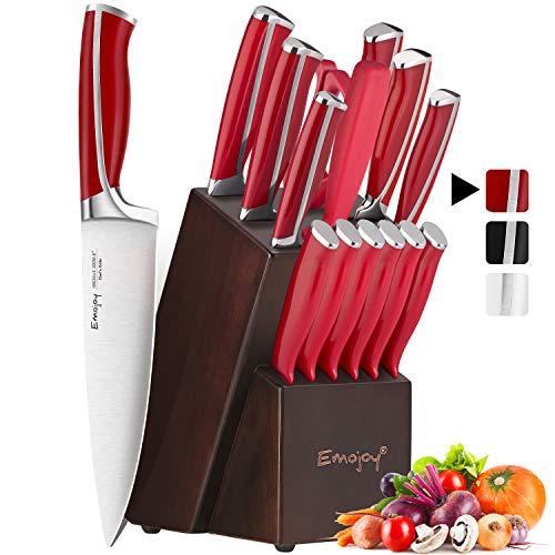 Emojoy Messerblock, Messerset, 15-TLG Küchenmesser, Messerblock mit Messer, Holzblock, Profi Kochmesser Set, Messerhalter, Rot