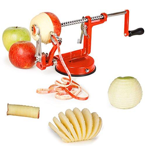 TecTake Apfelschneider Apfelschäler Apfelentkerner 3 in 1 – rot – - 2