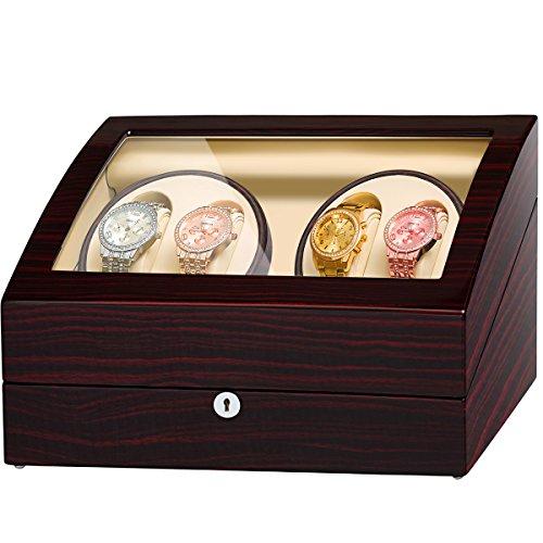 Jqueen - Scatola per riporre e ricaricare 4 orologi automatici,...