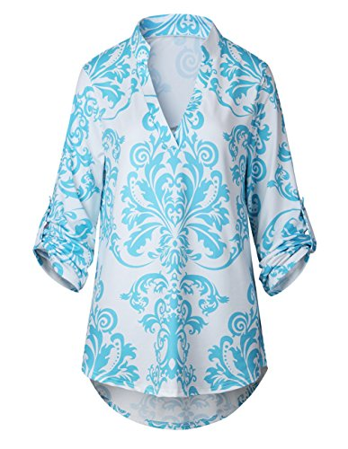 Rangeyes Donne Jumper Pullover Orlo Irregolare Cime Camicie Bluse Casuali Manica Lunga V Arredamento Sweatshirt Tops Lago blu
