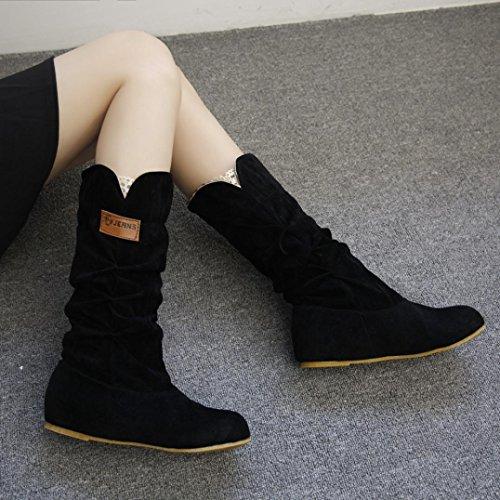 Hkfv splendida Charming High Class nero donna, al ginocchio, tacco piatto nubuck stivali da autunno inverno scarpe attraente fascino Keep Warming Foot, 6.5 6.5