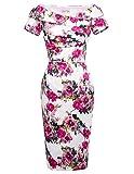 Belle Poque Donna Abito Vestito Hips-Wrapped Spalle Scoperte a Maniche Corte Stampata Elegante fioreale M DEBP117-3