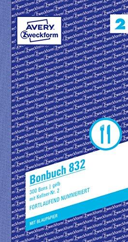 AVERY Zweckform 832 Bonbuch (Kompaktblock mit 300 Bons, Kellner-Nr. 2, 2x50 Blatt) gelb/weiß