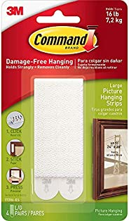 Command Picture Hanging Strips, 17206-ES, Large, White,Holds 16 lb