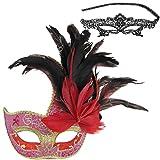 Dentelle sexy en dentelle yeux masque vénitien et plumes Masque Halloween mascarade Masque Parti de