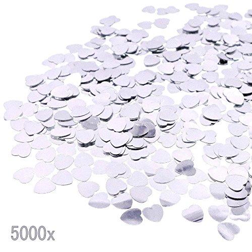 Jzk® 5000 pz 1cm scintillante plastica coriandoli cuore argento cuoricini decorazione tavolo per matrimonio compleanno san valentino battesimo addio al nubilato
