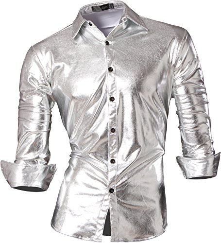 Kostüm Hemd Gestreiftes - jeansian Herren Freizeit Hemden Bronzing Slim Button Down Long Sleeves Dress Shirts Tops Z036 Silver XXL