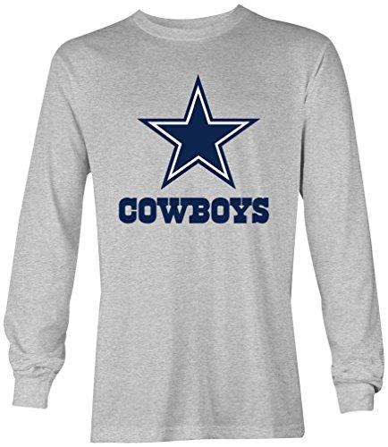 PRILANO Herren Longsleeve - DALLAS-COWBOYS - XL - Grau Meliert (Dallas Cowboy-kleidung)
