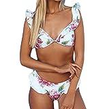 Damen Bikini Set Mit Bügel Gepolstert YUAN Push Up Padded Drucken Bra Bademode Neckholder Badeanzug Rüschen Triangel Unterteil im Brasil-Style