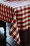 Tischwäsche mit 2 cm Karo aus Baumwolle - Farbe rot-weiß (130x280)
