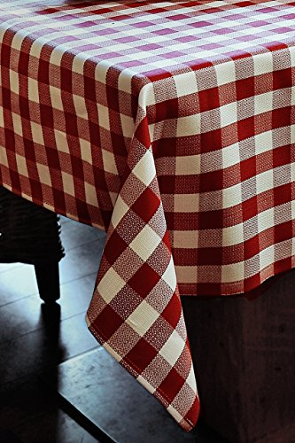 Linge de table avec 2 cm Carreaux en Coton – Couleur Rouge/Blanc, Coton, Rouge et blanc à carreaux, 50x50 - 6er Pack
