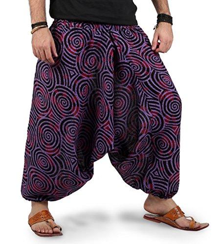 The Harem Studio Hombre Mujer Pantalones harem unisex bombachos ligeros, hippies, de algodón, casuales, boho, hechos a mano para Yoga - Estilo Spiral (Púrpura)