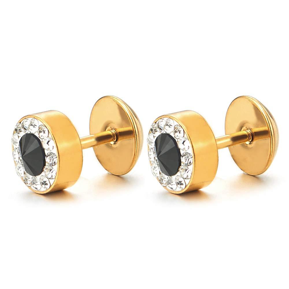 Men Women Gold Circle Stud Earrings with Black White Cubic Zirconia, Steel Cheater Fake Ear Plug