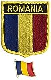 Toppa Ricamata con Bandiera della Romania, da Cucire o Applicare con Ferro da Stiro, con Spilla in Metallo smaltato