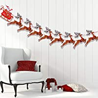 VEYLIN Christmas Reindeer Bunting, Santa Sleigh Banners for Party Decoration