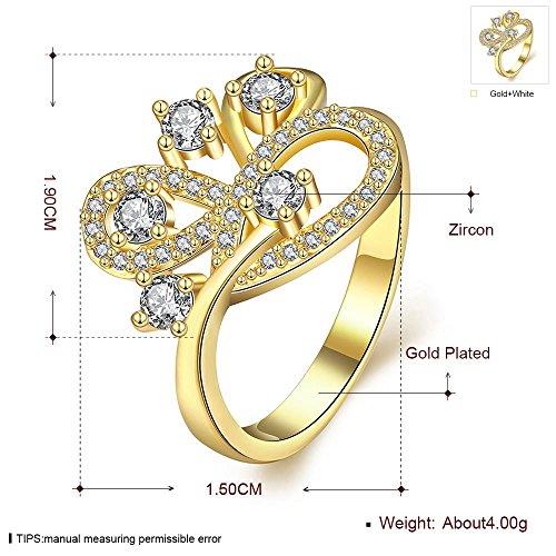 K Gold Zirkon Beliebte Persönlichkeit Kunst Geometrische Intarsien Weißen Zirkon Stein Ring , Gold , 7 -