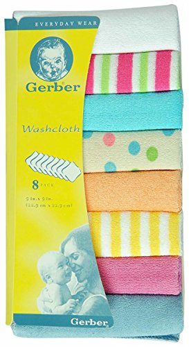 WashCloth from Gerber - 8 pcs (VARIED MULITICOLOUR)