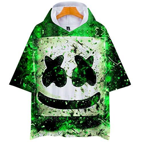 WTZFHF Mode Unisex 3D T-Shirt mit Kapuze Rundhals Kurzhülse Druck, Sommer elektrische DJ Zuckerwatte elektrische Perücke Muster (Herr T Perücken)