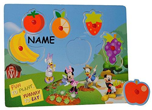 Puzzle mit Griffen - Holzpuzzle / Legespiel - Mickey Mouse incl. Namen - Obst und Essen / Griffe Griff - für Kinder Steckpuzzle - Formenpuzzle aus Holz - für Kleinkinder Motorik lernen Lernspiel Mickey-mouse-holz-puzzle