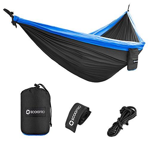 Double Down Zip (Doppelte Camping-Hängematten- Die beste Qualität Lager Gear für Backpacking Camping Survival & Travel- Portable Leichtgewicht Fallschirm Nylon Seile und Karabiner Inbegriffen von FEEMIC (Grau und Blau))