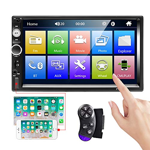 Bluetooth-Autoradio 2 Din CAMECHO 7-Zoll-Touchscreen MP5-Player FM-Radio IOS / Android-Telefon Spiegel Link Dual USB AUX SD-Anschluss + Lenkradsteuerung